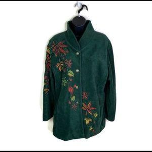 Bob Mackie Hunter Green Fleece Embroidered M